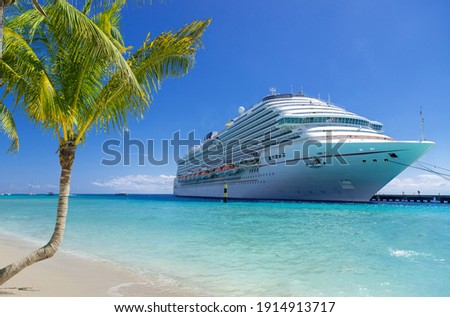 Cruise ship docked at tropical port on sunny day Royalty-Free Stock Photo #1914913717