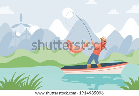 Fisherman with fishing rod standing in boat and catching big pink fish from lake vector flat illustration. Summer fishing vacation, relaxation on nature, man doing fishing sport concept.