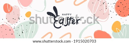 Happy Easter banner. Trendy Easter design with typography, hand painted strokes and dots, eggs, bunny ears, in pastel colors. Modern minimal style. Horizontal poster, greeting card, header for website Royalty-Free Stock Photo #1915020703