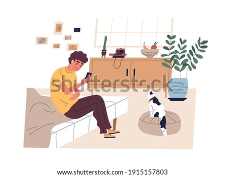 Teen boy surfing internet, listening to music and taking photo of cat at home. Modern teenager sitting on bed and using mobile phone. Colored flat vector illustration isolated on white background Royalty-Free Stock Photo #1915157803