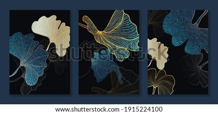 Luxury gold wallpaper.  Black and golden background. Tropical leaves wall art design with dark blue and green color, shiny golden light texture. Modern art mural wallpaper. Vector illustration. Royalty-Free Stock Photo #1915224100