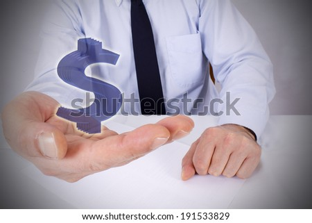 businessman with dollar in hand #191533829