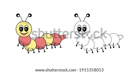 Funny Caterpillar Cartoon in vector format for Children coloring book. Colorful Caterpillar drawing with Outline format.
