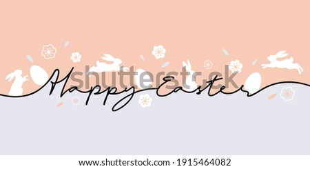 Happy Easter greeting card. Trendy Easter design with typography, eggs and bunnys in pastel colors. Modern minimal style. Horizontal poster for cover, social media, fashion ads, banner, website header Royalty-Free Stock Photo #1915464082