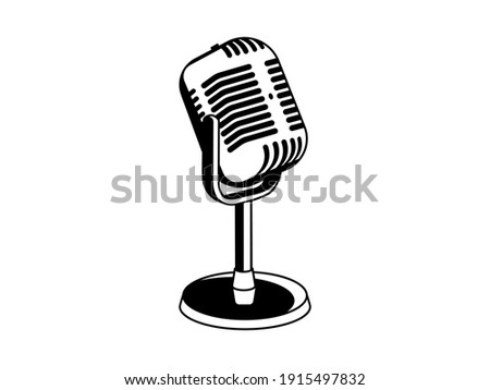 Old retro microphone symbol black and white vector on a white background.