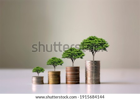 Showing financial developments and business growth with a growing tree on a coin. Royalty-Free Stock Photo #1915684144