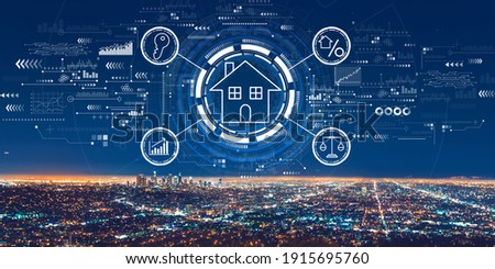 Real estate theme with downtown Los Angeles at night Royalty-Free Stock Photo #1915695760