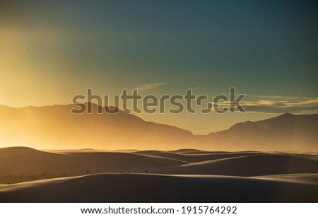 dramatic landscape photos of the largest gypsum sand dunes in the world. The White Sands National Park in the Chihuahuan desert in New Mexico. One of USA's newest national park.  Royalty-Free Stock Photo #1915764292