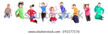group of kids jumping isolated in white #191577176