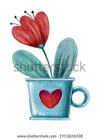 Watercolor blue cup with flower. Handdrawn watercolor painted clip art, Saint Valentine's Day decoration and symbol. Perfect for decoration of invitations, posters and packaging.