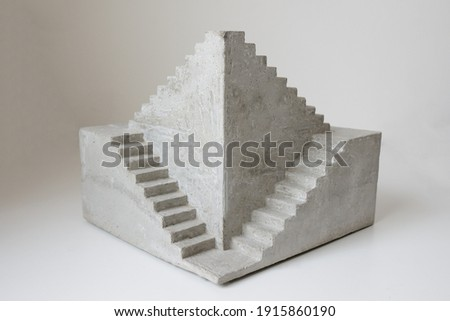 concrete sculpture staircase artwork architecture model casting modern art