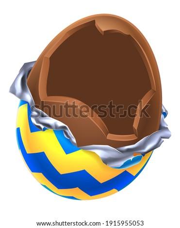 An illustration of a cartoon broken open chocolate Easter egg