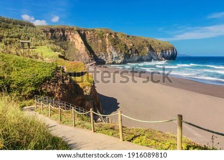 Santa Barbara black volcanic beach of Sao Miguel island of Azores, Portugal
