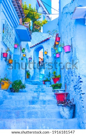Chefchaouen, a city with blue painted houses and narrow, beautiful, blue streets, Morocco, Africa Royalty-Free Stock Photo #1916181547