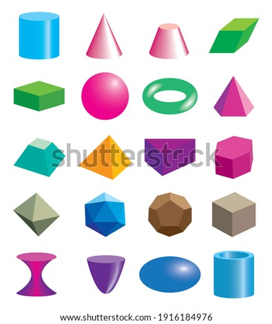 Set of volumetric geometrical colored shapes. Vector illustration Royalty-Free Stock Photo #1916184976