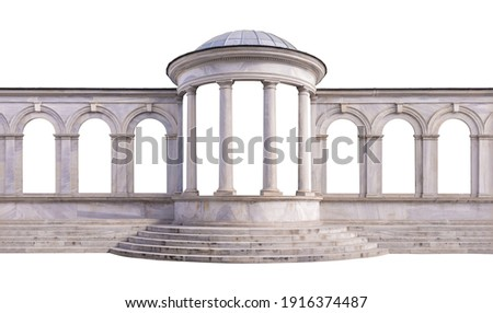 Elements of architecture of buildings, ancient arches, columns, windows and apertures. On the streets in Istanbul, public places. Royalty-Free Stock Photo #1916374487