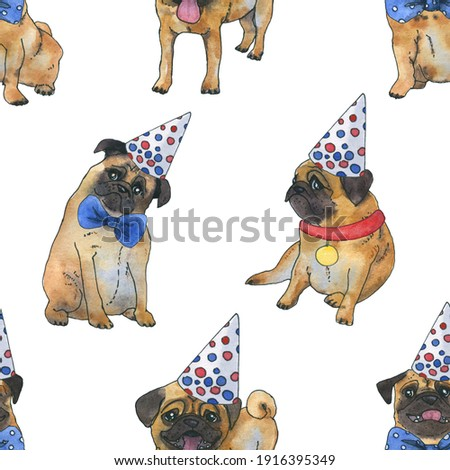 pug digital paper dog seamless pattern watercolor pug clip art dog birthday party digital paper cute dog printable art digital download