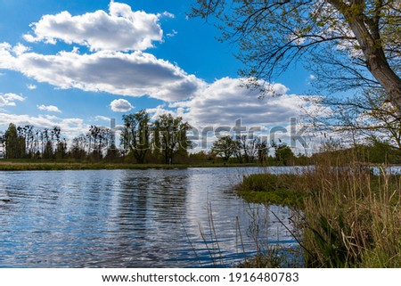 Landscape of Odra river with grass and bushes in front of at cloudy sunny day Royalty-Free Stock Photo #1916480783