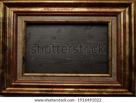 Antique bronze colored photo frame with slate center
