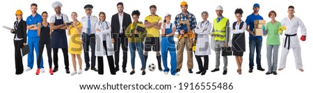Full length portrait of group of people representing diverse professions of business, medicine, construction industry Royalty-Free Stock Photo #1916555486