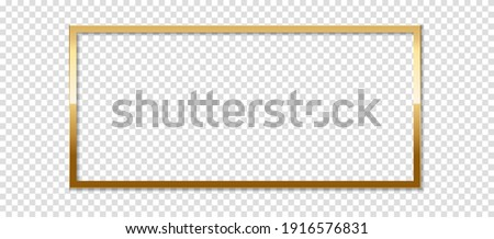 Square golden frame with shadow, isolated on transparent background. Golden border design. Royalty-Free Stock Photo #1916576831