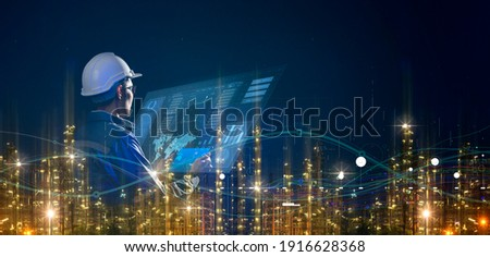 Asian engineer smart industry background, sustainable power saving energy management smart factory  technology, oil and gas plant background Royalty-Free Stock Photo #1916628368