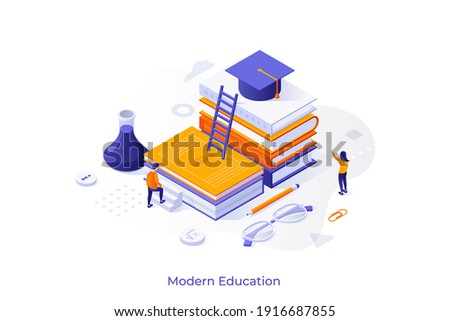 Conceptual template with student ascending pile of books with graduation cap on top. Scene for modern education, studying at university, obtaining knowledge. Isometric vector illustration. Royalty-Free Stock Photo #1916687855