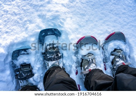 Close up photo of two pairs of snow shoes blue and rose magenta worn on winter boots and shoes, fluffy fresh white snow, much copy space at top side of photo Royalty-Free Stock Photo #1916704616