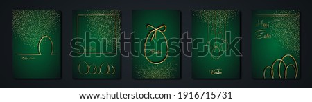 set cards Happy Easter gold texture, golden luxury green modern background. Easter holiday invitations templates collection with hand drawn lettering and gold easter eggs. Vector fashion illustration Royalty-Free Stock Photo #1916715731