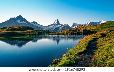 Bachalpsee lake. Highest peaks Eiger, in famous location. Switzerland alps - Grindelwald valley  Royalty-Free Stock Photo #1916748293