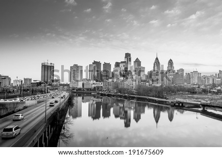 Downtown Skyline of Philadelphia, Pennsylvania at twilight in black and white