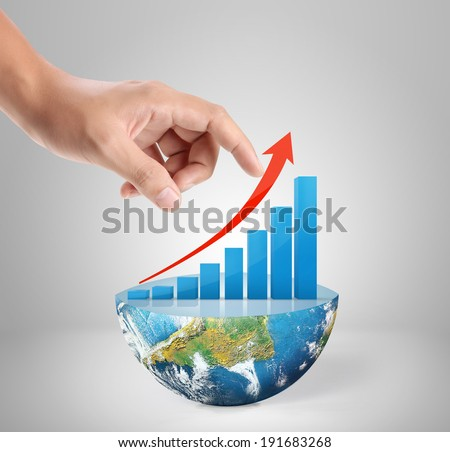 Graph on hand, local businessmen ,Some components of this image are provided courtesy of NASA  #191683268