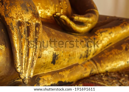 old brass buddha's hand in a temple in thailand #191691611