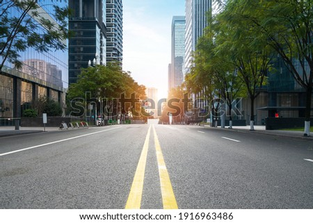 Highway and financial center office building in Chongqing, China Royalty-Free Stock Photo #1916963486
