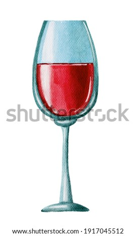 Watercolor red wine glass. Handdrawn watercolor painted clip art, Saint Valentine's Day decoration and symbol. Perfect for decoration of invitations, posters and packaging.