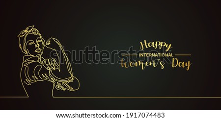 Black and gold happy international women's day with women line art Royalty-Free Stock Photo #1917074483