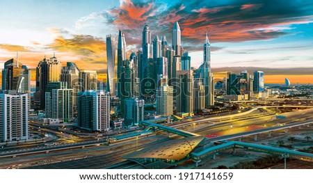 Dubai Marina symbol of Jumeirah beach and Dubai city, United Arab Emirates Royalty-Free Stock Photo #1917141659