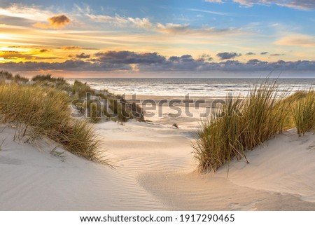 View from dune top over sunset in North Sea from the island of Ameland, Friesland, Netherlands Royalty-Free Stock Photo #1917290465
