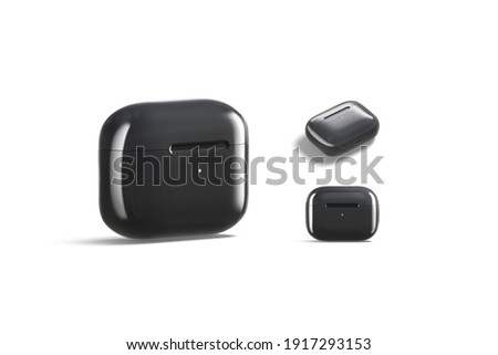 Blank black small headphones case mock up, different views, 3d rendering. Empty pro earflaps for smartphone music mockup, isolated. Clear audio earbuds casing pack template.