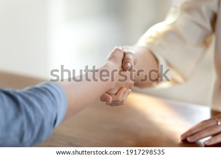 Close up two women handshaking, making business agreement, establishing partnership after negotiations in office. Female hr manager greeting job seeker at interview or making offer, employment process Royalty-Free Stock Photo #1917298535