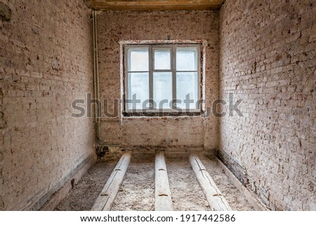 Dismantling in the old apartment before new renovation, construction concept Royalty-Free Stock Photo #1917442586