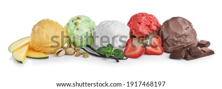 Scoops of different ice creams and ingredients on white background Royalty-Free Stock Photo #1917468197