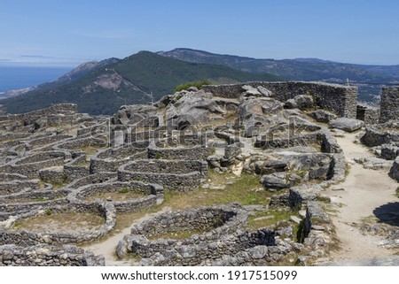 The ruins of the ancient Celtic village in Santa Tecla, Galicia, Spain Royalty-Free Stock Photo #1917515099