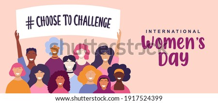 International Women's Day web banner illustration. Choose to challenge campaign design for female rights event. Diverse woman group holding protest sign together with hand raised up. Royalty-Free Stock Photo #1917524399