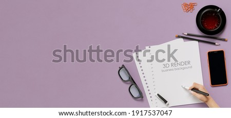 Office, business utensils on a lilac table  table , telephone, a cup of tea, pencils, a notebook, glasses, a plant in a pot. Hand signing the document. 3d illustration. Render.