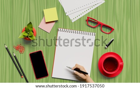 Office, business utensils on a green table  table , telephone, a cup of tea, pencils, a notebook, glasses, a plant in a pot. Hand signing the document. 3d illustration. Render.