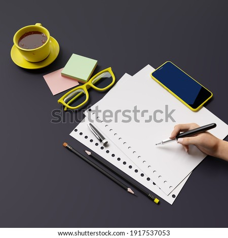Office, business utensils on a dark grey table  table , telephone, a cup of tea, pencils, a notebook, glasses, a plant in a pot. Hand signing the document. 3d illustration. Render.