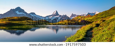 Bachalpsee lake. Highest peaks Eiger, in famous location. Switzerland alps - Grindelwald valley  Royalty-Free Stock Photo #1917597503
