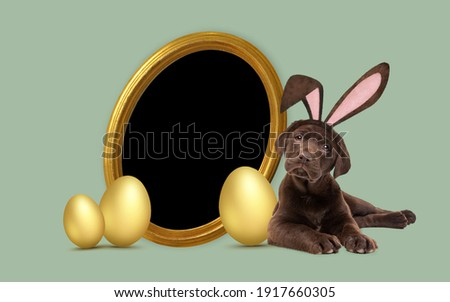 a chocolate labrador puppy with furry Easter ears laying next to golden Easter eggs and a round golden picture frame