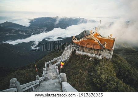 The temples on top of Fansipan, the Roof of Indochina, in Sapa town, northen Vietnam Royalty-Free Stock Photo #1917678935